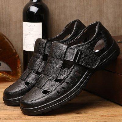 米斯康MR.KANG新款牛皮软面皮透气镂空男鞋男士商务休闲皮鞋爸爸鞋洞洞鞋凉鞋男夏季98086