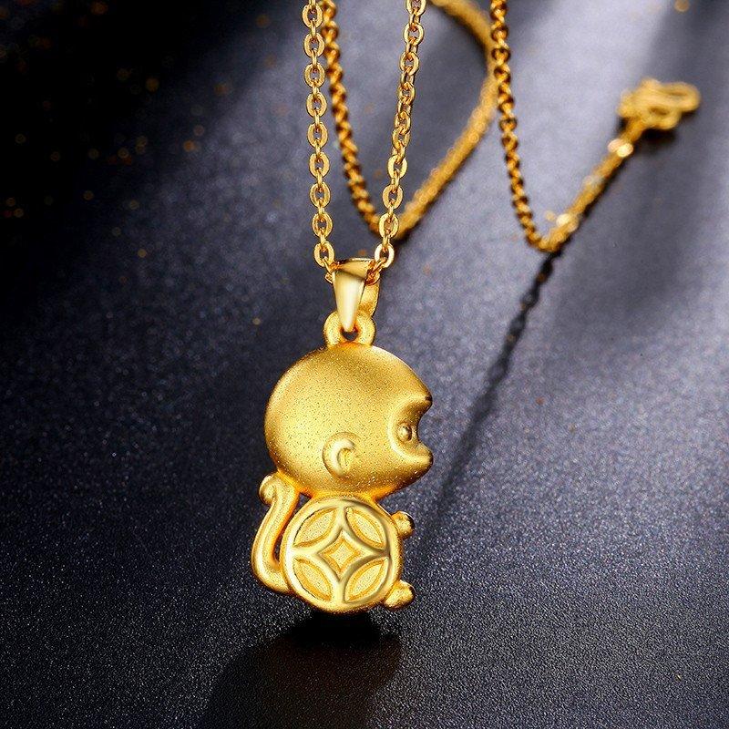 黄金猴子吊坠囹�a_钻石凤凰 3d硬金 999千足金 黄金吊坠女 q版金钱猴子项坠 送女友
