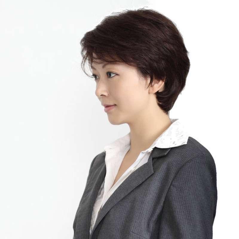 玫瑰雨 新款上架女士真发假发短发女 主持人发型 女士图片