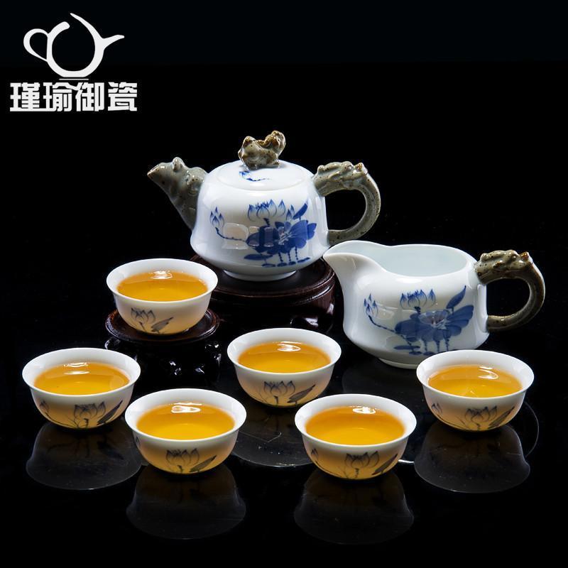 瑾瑜御瓷正品景德镇陶瓷茶具 功夫茶具茶杯茶壶套装 手绘陶瓷茶具