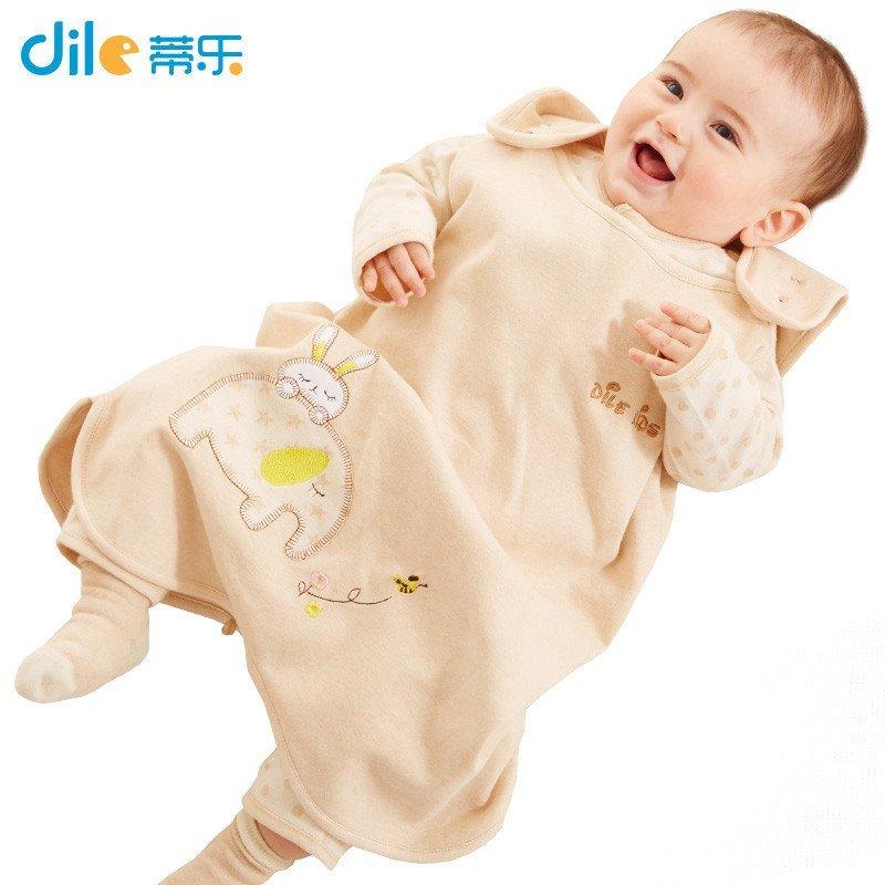 蒂乐 彩棉背心式婴儿睡袋 宝宝防踢被