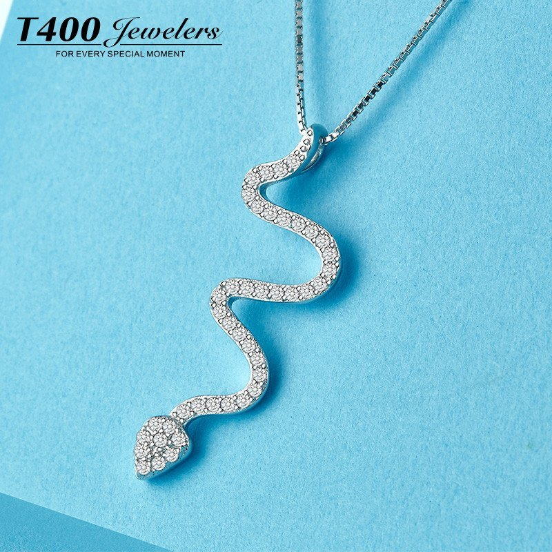t400s925银锁骨链项链女韩版百搭时尚配饰品吊坠小动物 许愿蛇