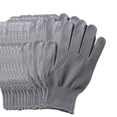 谋福 漂白棉纱点珠点胶手套 防滑耐磨PVC点塑手套 劳保手套 工作司机开车防尘点珠手套 灰色 1打12付