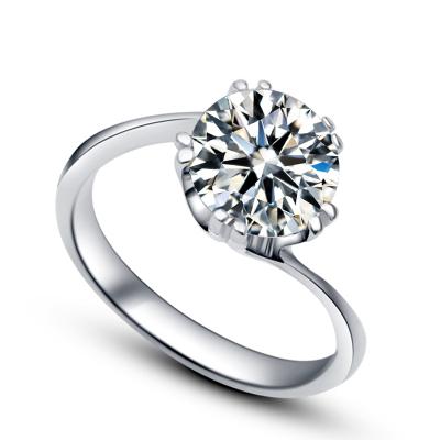 Anytime艾她 S925銀女士鑲鉆戒指2克拉R0371