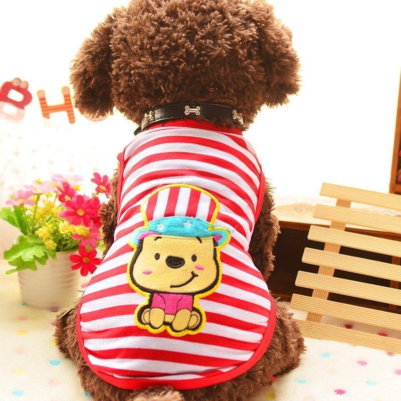 宠物衣服 夏季薄款小背心 戴帽卡通可爱小熊 条纹春夏