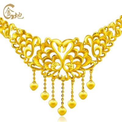 金地珠宝足金天鹅之吻套链 女款婚庆套链 黄金项链