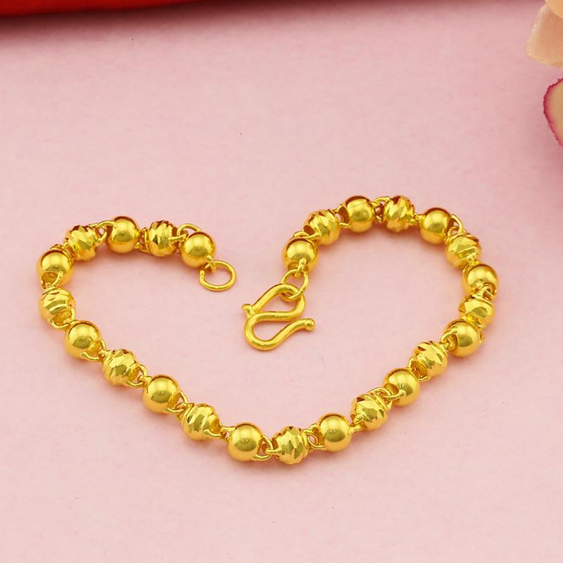 金地珠宝 黄金手链 女款足金双珠手链 车花光面金珠黄金手链 转运珠手