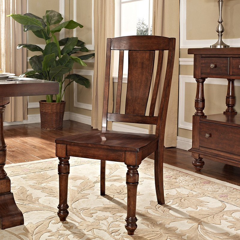 优梵艺术 goodland古德兰高档美式黄杨木实木圆形餐桌餐椅