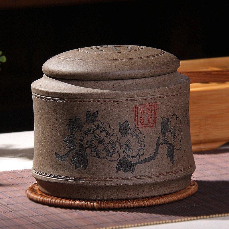 郑品雕刻图案 紫砂茶叶罐
