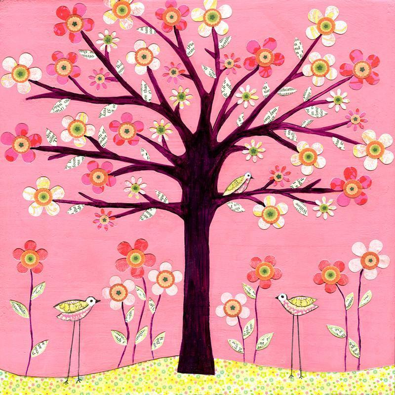 现代客厅装饰画 田园油画发财树 幸福树 装饰画卧室无