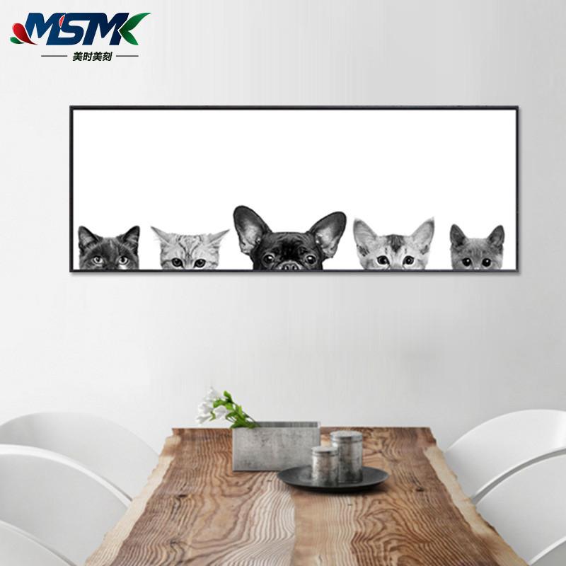 黑白猫咪萌宠北欧宜家卧室床头装饰画客厅沙发背景墙挂画餐厅壁画宾馆