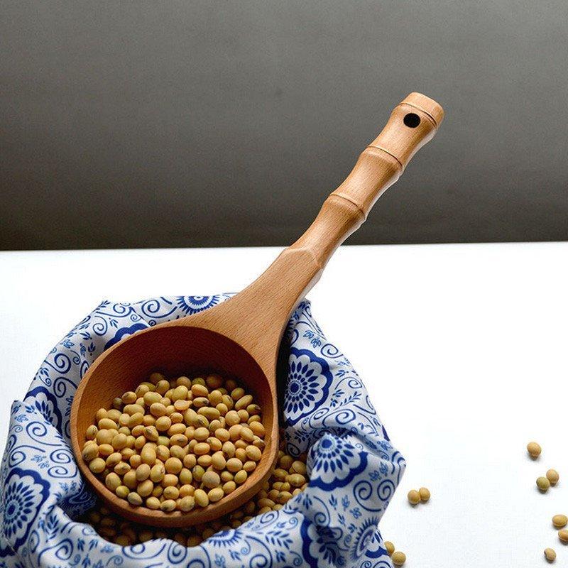 日式竹节手柄手作实木水瓢 木质大汤勺 粥瓢