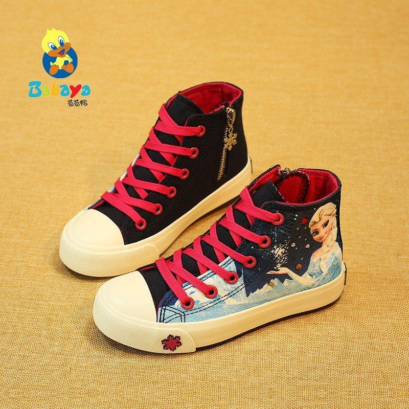芭芭鸭儿童帆布鞋3d打印卡通公主鞋休闲鞋女童2015春季新款布鞋女