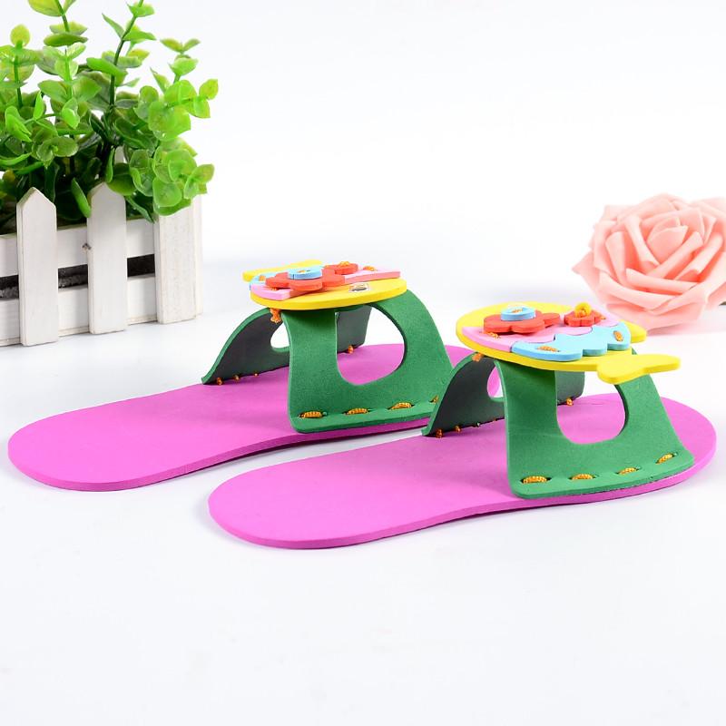 孩派eva手工缝制 立体儿童diy手工制作材料包 动物拖鞋 拖鞋