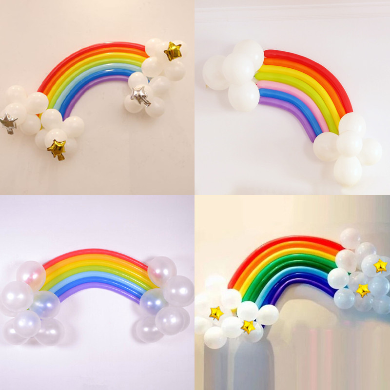 孩派生日派对装饰用品进口260长条魔术气球造型彩虹气球造型套餐