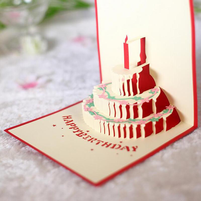 孩派 立体3d手工创意贺卡 儿童生日贺卡生日蛋糕贺卡 纸雕卡片