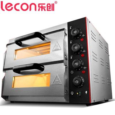 乐创电器旗舰店/lecon 烤箱 商用 烤炉双层蛋糕面包大烘炉设备电烤箱 商用披萨烤箱