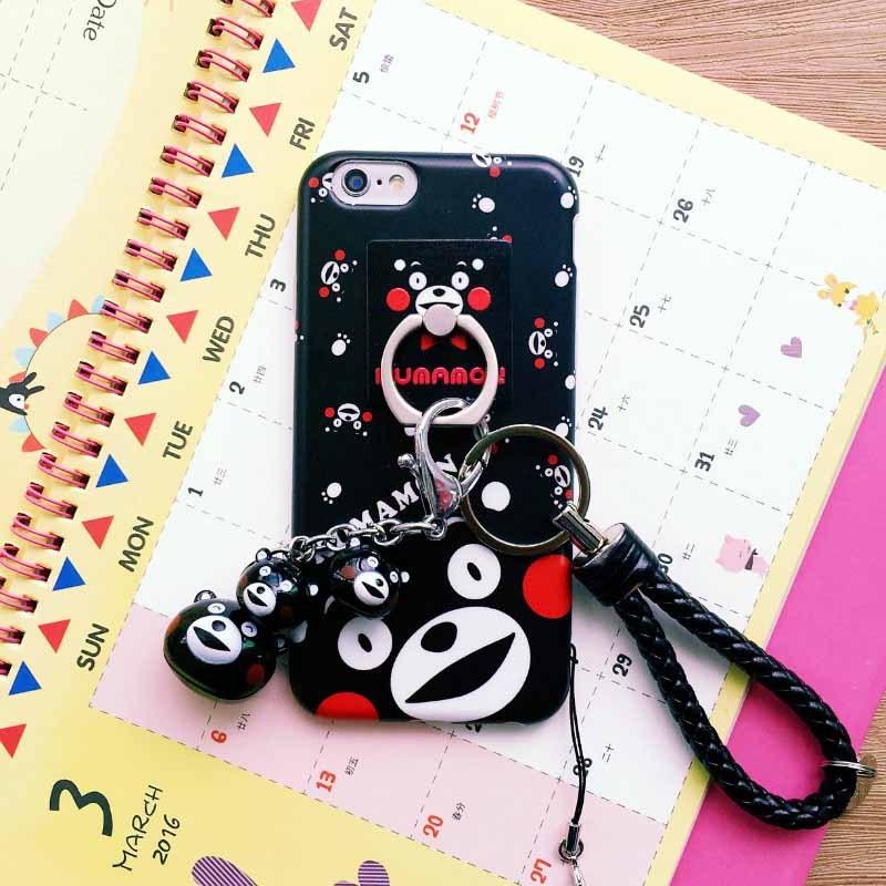 iphone6s手机壳指环支架熊本熊苹果6plus挂件铃铛