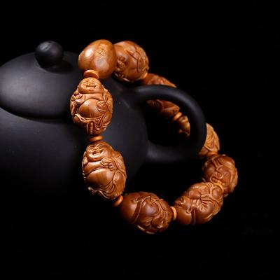 橄榄核雕刻开心弥勒手串 苏梅款 橄榄胡雕八大弥勒手串手链