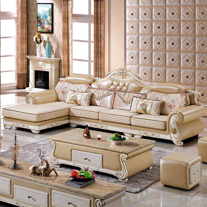 欧式布艺沙发客厅实木转角贵妃组合可拆洗布