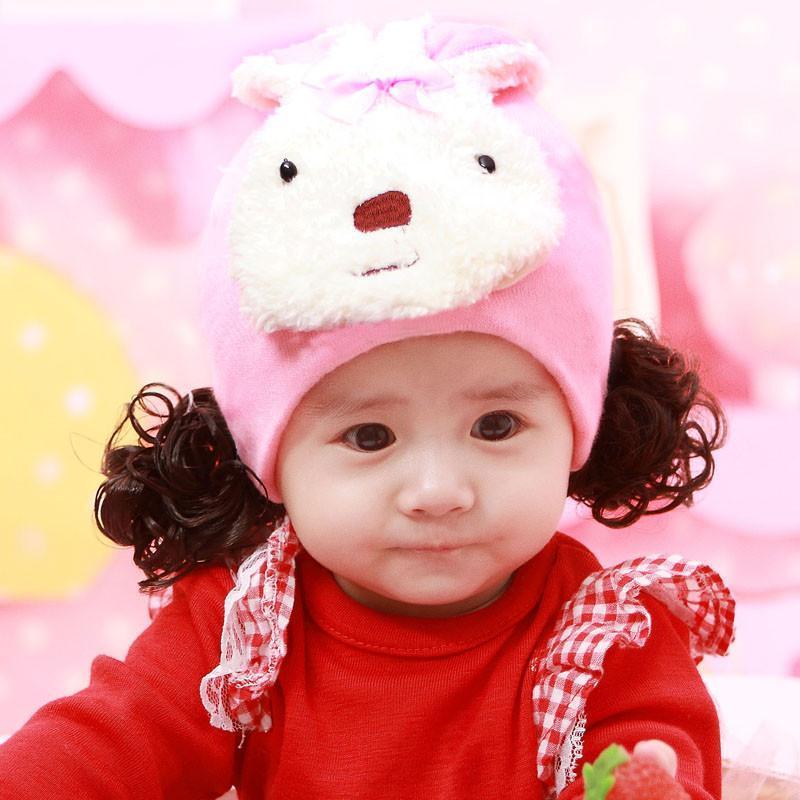 韩国 儿童婴儿假发帽子0-1-3岁春秋季新款小孩套头 新生儿女宝宝 长兔