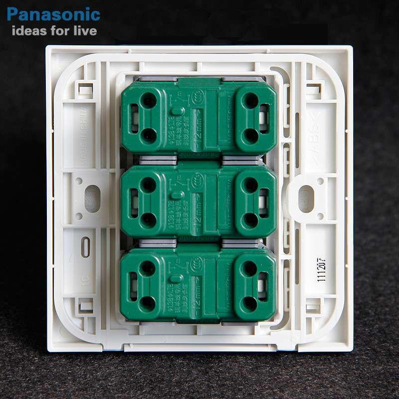 松下开关插座墙壁开关面板宏彩系列86型三位单控开关wf575