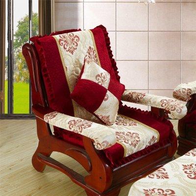 添富贵 韩版花边实木红木沙发垫套装 加厚海绵办公室联邦椅子座垫带