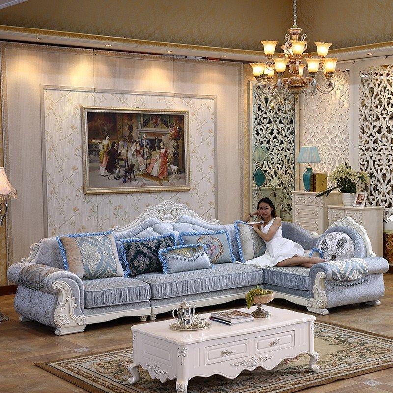 欧式布艺沙发 客厅小户型转角组合实木雕花