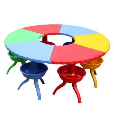 儿童圆形塑料拼搭宝贝桌 彩色扇形桌子早教中心游戏桌椅 可拆卸带收拾