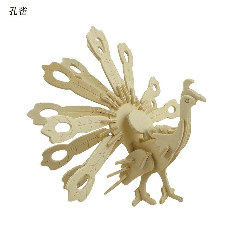孔雀 四联木制仿真3d立体儿童玩具 木质益智diy手工动物拼图