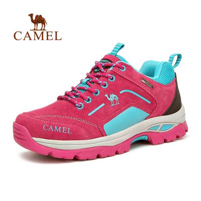 Camel骆驼户外情侣减震徒步鞋 女款透气系带徒步鞋