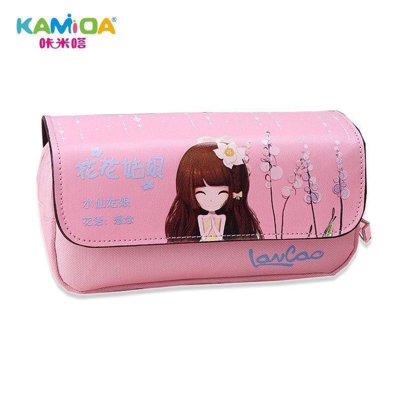 咔米嗒kamida 笔袋韩国简约女生儿童小学生花花姑娘大容量可爱铅笔