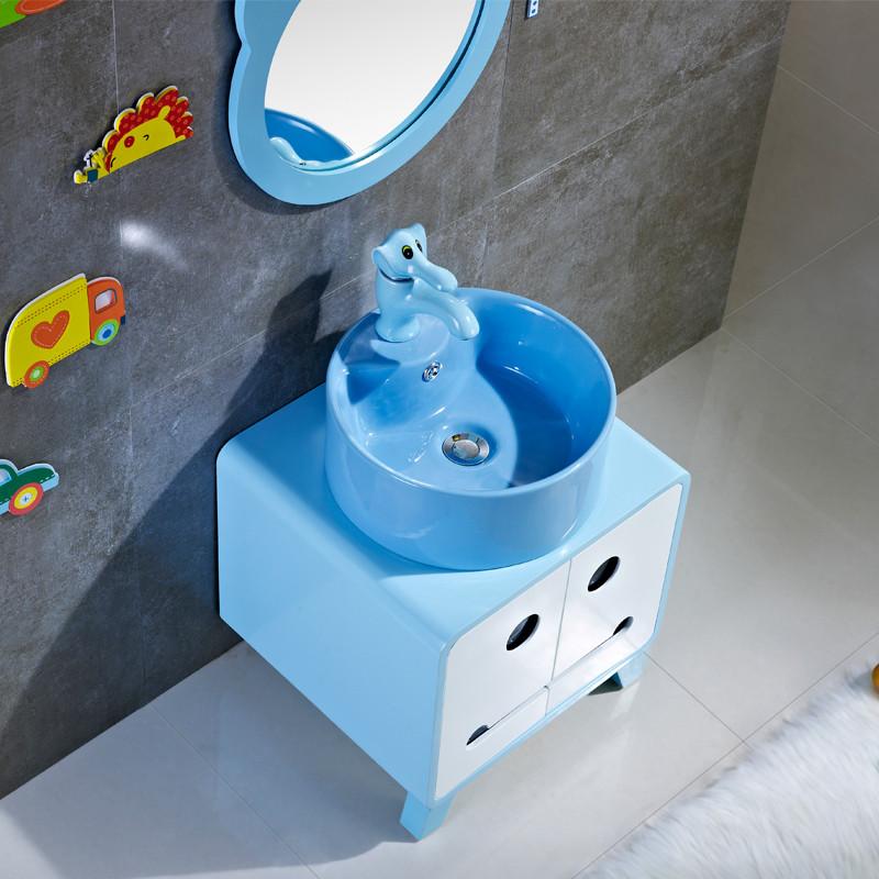 儿童卫生间彩色卡通落地式浴室柜陶瓷幼儿园洗脸洗手盆洗漱台盆台上盆