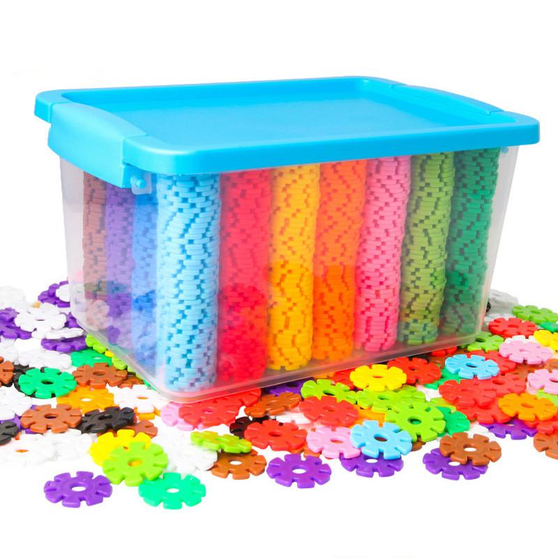雪花片积木加厚大号桶装塑料拼插拼装宝宝幼儿园儿童 收纳箱大号约500