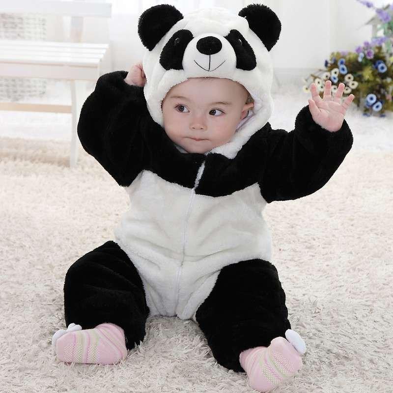 婴儿服装宝宝装秋冬季儿童加厚连帽动物造型连体衣/爬