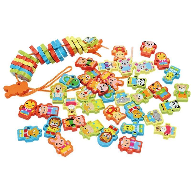 136粒动物多米诺骨牌 儿童数字字母动物积木玩具 带串珠功能桶装 木制