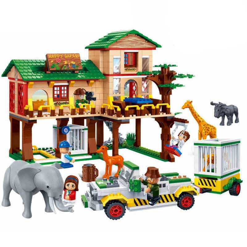 邦宝儿童玩具积木立体拼插塑料积木动物套装动物大本营益智拼装玩具