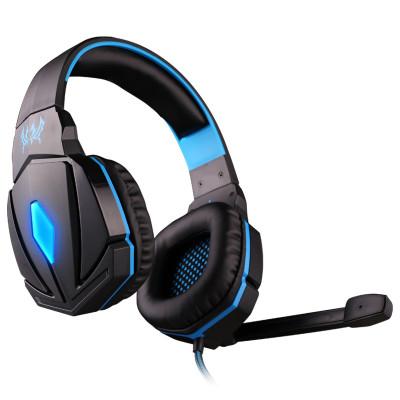 因卓G4000電腦游戲耳機頭戴式吃雞發光耳麥 雙插頭 線控 親膚大耳罩 2米編織線 黑藍黑紅雙色可選