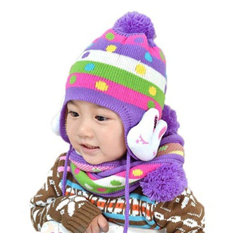 叶子宝宝 冬季保暖毛线帽加围巾 宝宝帽子 婴儿帽加围脖 兔子护耳帽