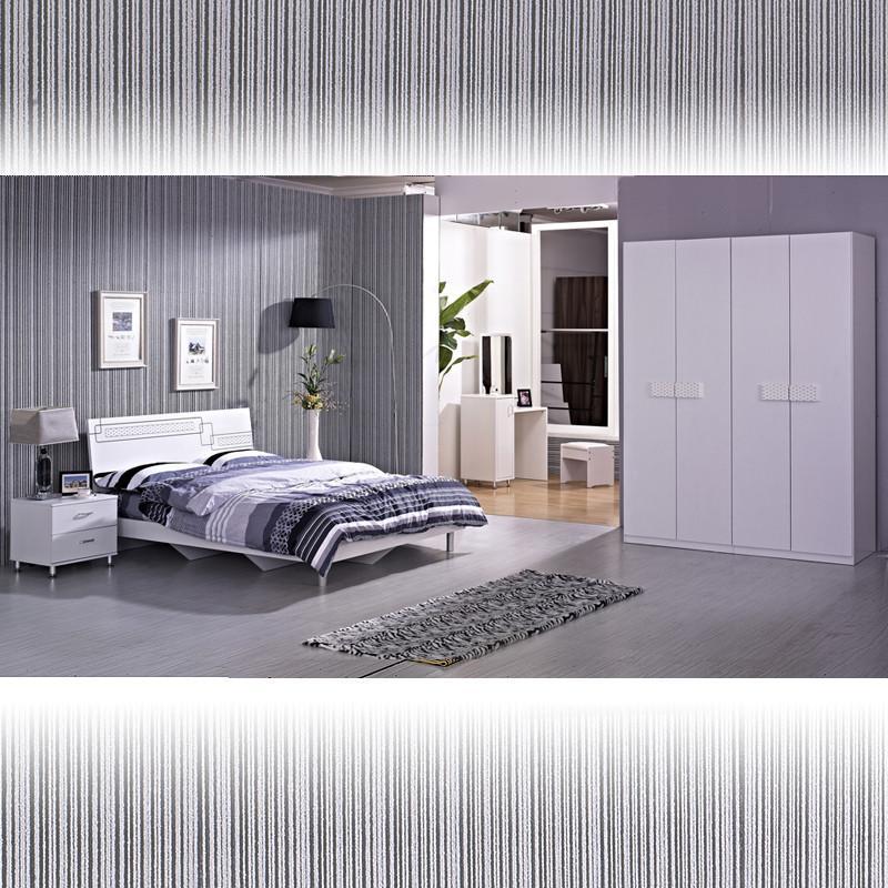 現代時尚臥室套裝組合雙人床 床頭柜 梳妝臺 衣柜三件套六件套烤漆