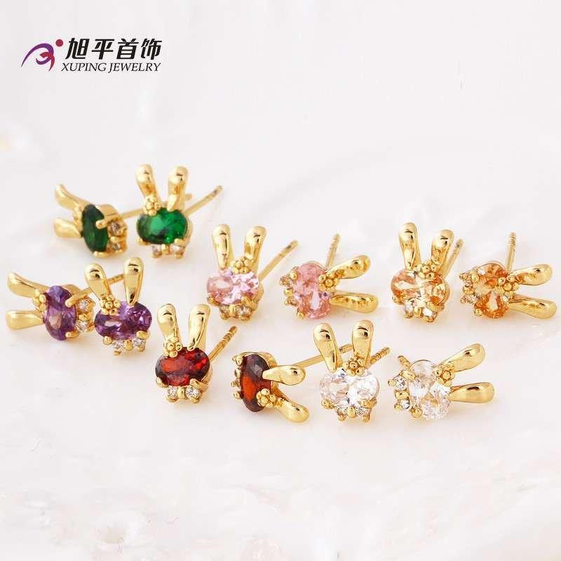 韩版气质可爱动物锆石兔子耳环女
