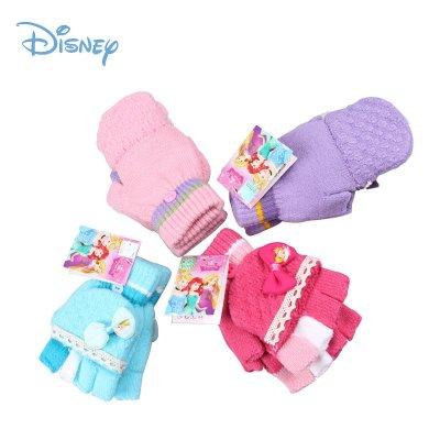 迪士尼女童毛線針織半指套五指套 冬季兒童翻蓋兩用寫字保暖手套 DS00145