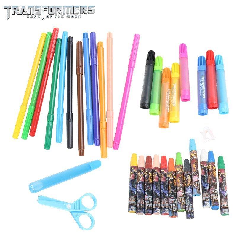 变形金刚小学生彩笔绘画套装水彩笔油画棒蜡笔手提画画包t460381m