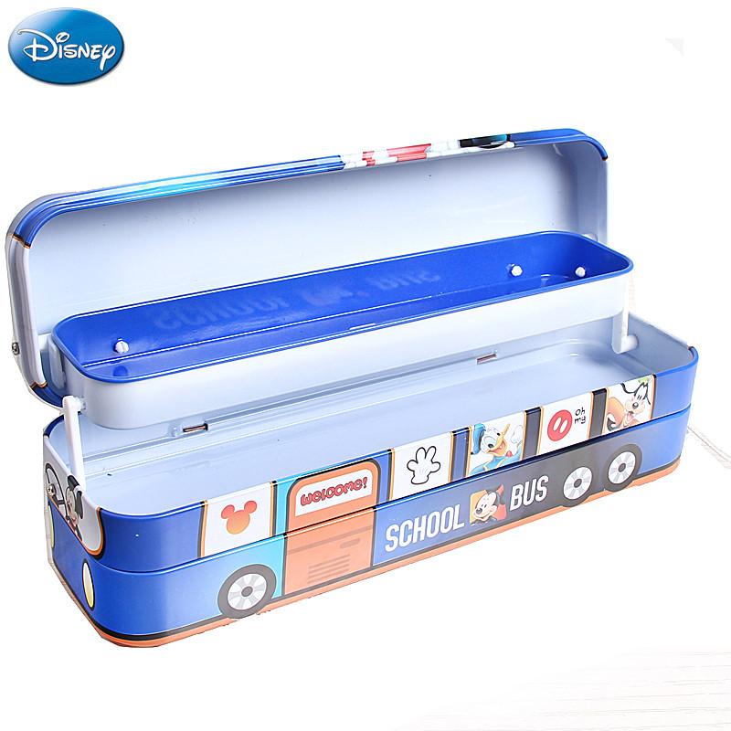 迪士尼巴士造型三层铁笔盒小学生文具盒男多功能创意儿童铅笔盒带轮子图片