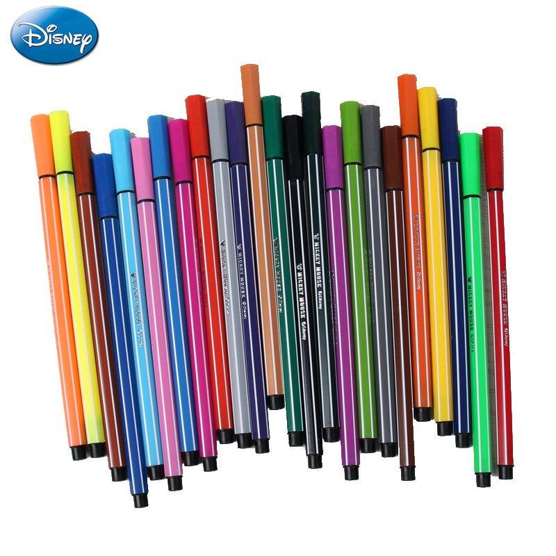 迪士尼米奇水彩笔学生绘画笔 男女童水彩笔桶装儿童创意水彩笔 24色
