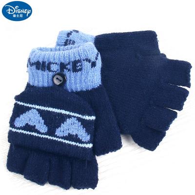 迪士尼手套冬保暖五指男童翻蓋半指二用寶寶卡通針織毛線寫字手套