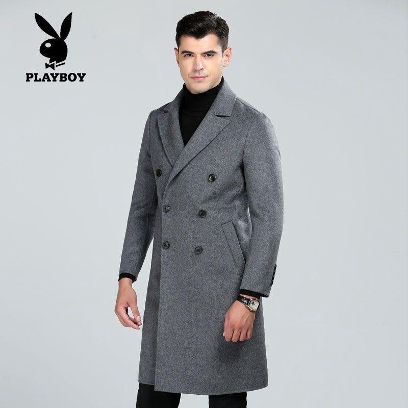 新款雙面呢羊毛呢大衣長厚款商務休閑修身中青年男士外套風衣s338b圖片