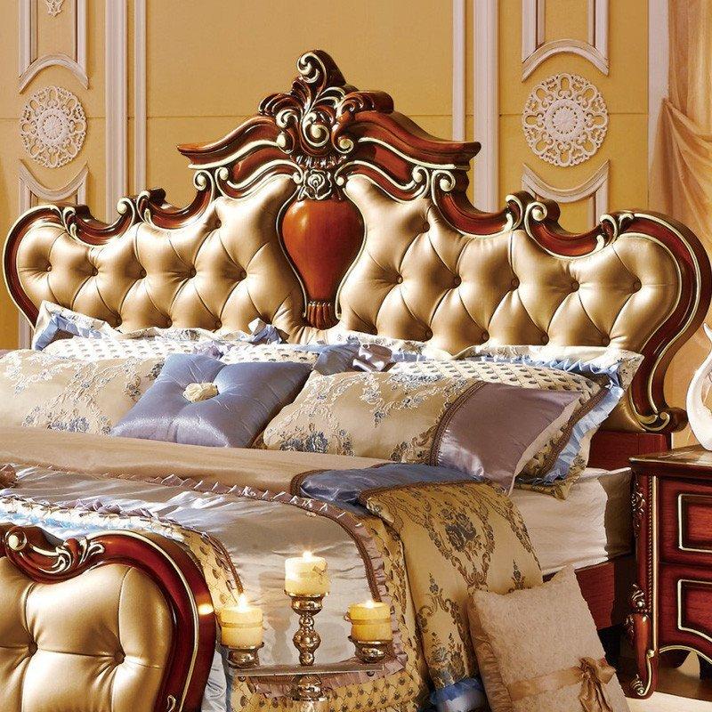 欧施洛 实木床美式床欧式床皮床实木古典双人床1.