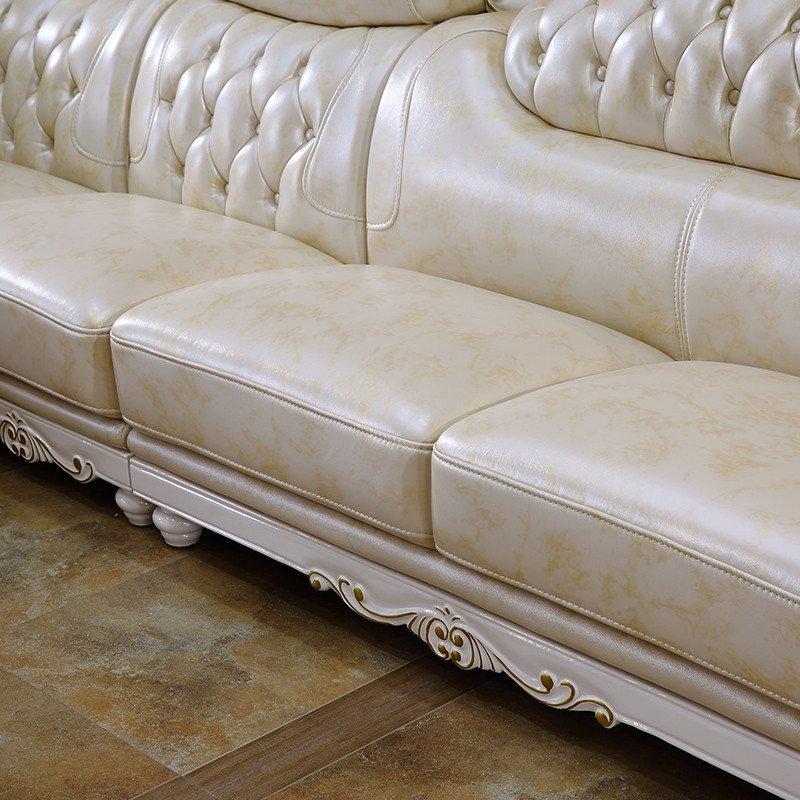 欧施洛 欧式皮沙发转角实木雕花沙发美式沙发法式沙发