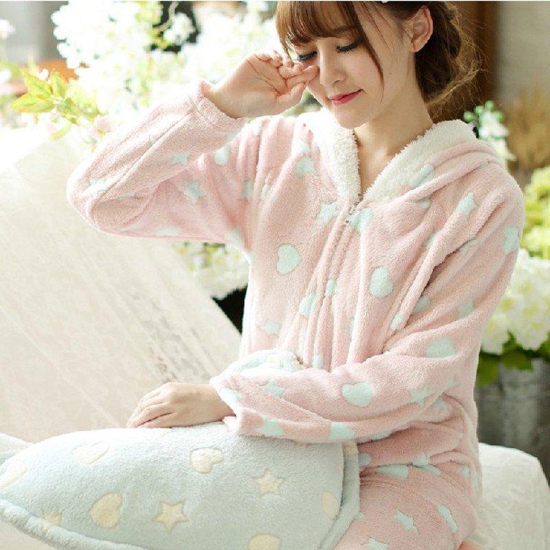 带兜鱼 梦蜜系列 甜美爱心珊瑚绒月子服 可爱孕妇睡衣